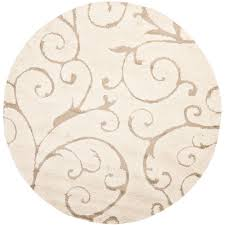 Unique Round Rugs Safavieh Florida Shag Cream Beige 8 Ft X 8 Ft Round Area Rug