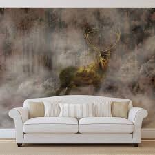 wall mural photo wallpaper xxl deer wild forest fog nature image is loading wall mural photo wallpaper xxl deer wild forest