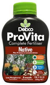 native plant fertiliser independent garden centres debco provita liquid fertilisers