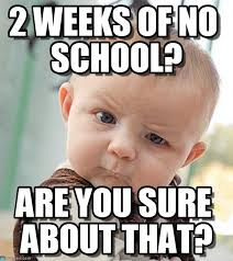 No School Meme - 2 weeks of no school sceptical baby meme on memegen