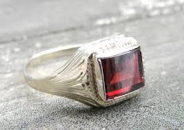 art deco ring 14k white gold garnet engagement ring emerald cut
