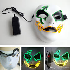 Led Halloween Costumes Led Glowing Masks Horror Ghost Party Halloween Costume Face