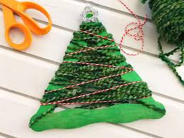 yarn wrapped tree craft stick ornaments rings