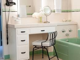 bathroom green and white midcentury bathroom with makeup table