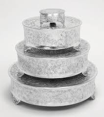 wedding cake stands buy tierra wedding cake stand plates set 4 aluminum cake