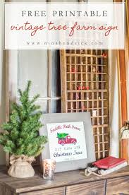 free printable vintage tree farm sign u0026 christmas vignette