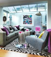 jewel tone color family room contemporary with gray leather sofa