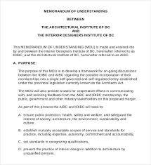 Interior Designers Institute Memorandum Of Understanding Templates U2013 30 Free Sample Example