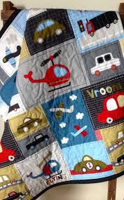 Helicopter Crib Bedding Baby Boy Quilt Vroom Vehicle Patchwork Panel Gray Cars