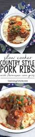 slow cooker country style pork ribs with parmesan corn grits