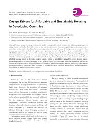 design drivers for affordable and sustainable housing in