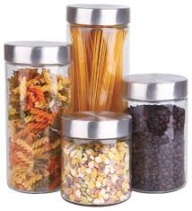 glass canister set with stainless steel lids set of 4
