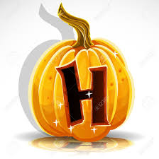 happy halloween font cut out pumpkin letter h royalty free
