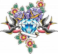 tattoo old school diamond this design is pretty good diamond sparrow rose tattoo if i were to