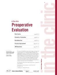 preoperative evaluation annals of internal medicine american
