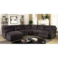 Chenille Sectional Sofa With Chaise Furniture Of America 6 Pc Karlee Ii Gray Chenille Fabric
