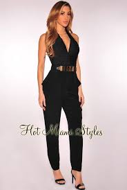 plunging jumpsuit plunging v neck gold belt jumpsuit