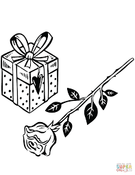 Rose Gift Coloring Free Printable Coloring Pages