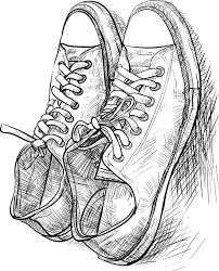 hand drawing a pair of casual shoes with shade vector stock