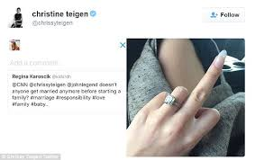 wedding ring test chrissy teigen gives the middle finger showing wedding ring to