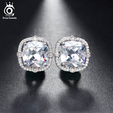 store stud earrings online shop orsa jewels party wearing big size 4ct cushion cut