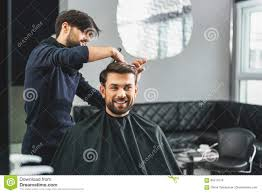 happy guy getting haircut by hairdresser stock photo image 85218176