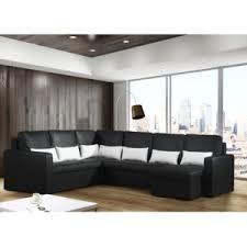 sofa canapé modern sofa canapé panoramique convertible avec coffre noir 8