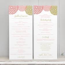 Easy Wedding Program Template Wedding Program Template Chrysanthemum Coral Pink U0026 Gold Tea Len
