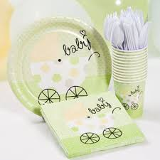 baby shower supplies online green baby shower plate cup and napkins set neutral