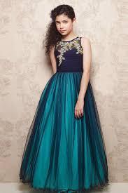 buy designer teal color net fancy party wear girls indowestern