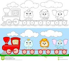 funny cartoon train with lion elephant and rhino coloring book