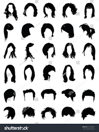 big collection silhouettes hairstylesvector stock vector 141183031
