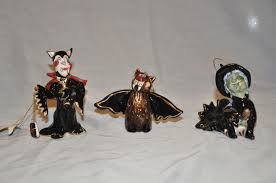 lot of 3 heather goldminc blue sky halloween ornaments collection