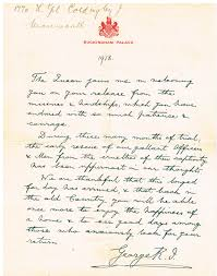 file hand written letter of recognition for world war 1 pow from