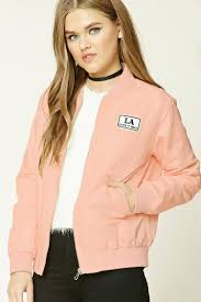 light pink blazer forever 21 lyst forever 21 patch graphic bomber jacket in pink