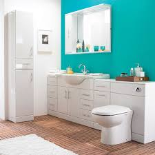 Furniture Bathroom Suites Alaska High Gloss White 6 Vanity Unit Bathroom Suite At