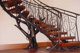 Metal Stair Banister Decor U0026 Tips Curved Staircase And Wood Treads With Metal Stair