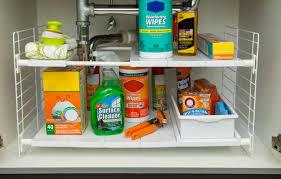 easy home expandable under sink shelf iris under sink shelving rack reviews wayfair