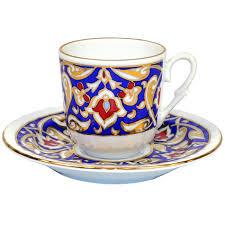 Porcelain Coffee Mugs Turkish Coffee Cup With Saucer Porcelain Blue U0026 Gold