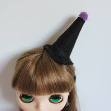 witch hat miniature black felt halloween hair clip accessory for