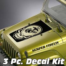 jeep wrangler logo decal jeep wrangler blackout hood decal 3 piece sticker semper fidelis