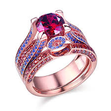 silver wedding ring sets newshe created ruby blue sapphire 925 sterling silver wedding