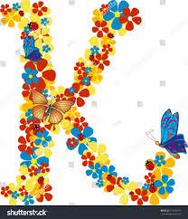 vector illustration beautiful floral letter k stock vector