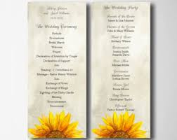 sunflower wedding programs rustic wedding program printable program template wood