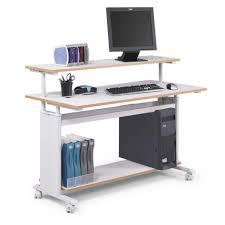Locking Computer Desk Attractive Movable Computer Desk Particle Board Panel Steel Frame