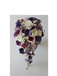 bouquet of lilies cascade wedding calla bouquet purple bouquet bridal bouquet