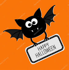 happy halloween cute images cute bat with plate happy halloween card u2014 stock vector