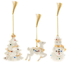 lenox set of 3 porcelain ornaments w crystals and gift boxes