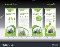 green roll up banner template and infographics stand design