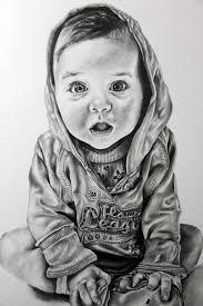 for sale realistic baby portrait in graphite pencil on white